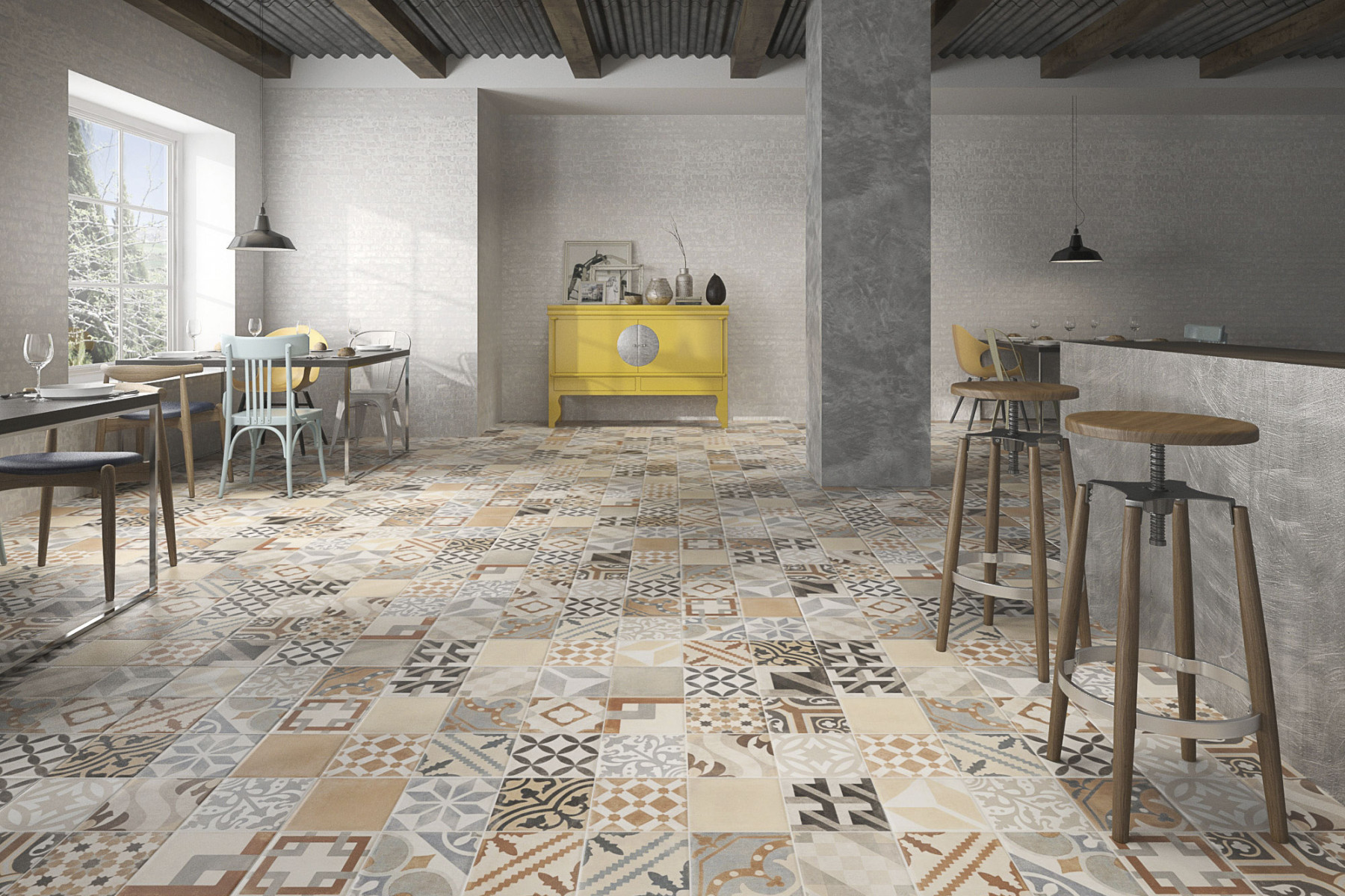 Vintage geotiles for Lamosa tile